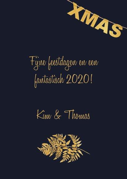 Kerstkaart label goud Xmas 3