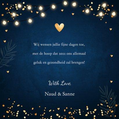 Kerstkaart lampjes confetti typografie donkerblauw 3