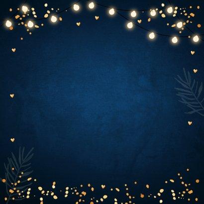 Kerstkaart lampjes confetti typografie donkerblauw Achterkant