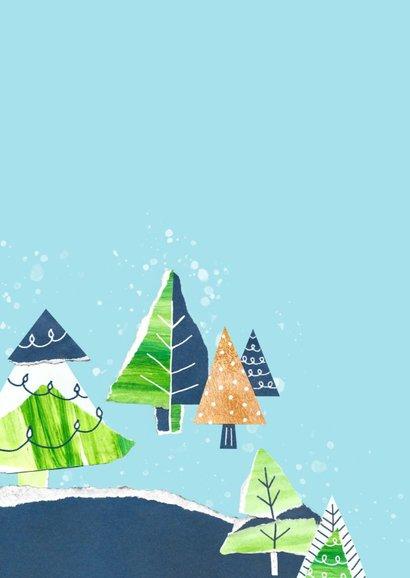 Kerstkaart landschap kerstbomen 2