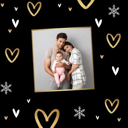 Kerstkaart liefde hartjes goud warm wishes 2