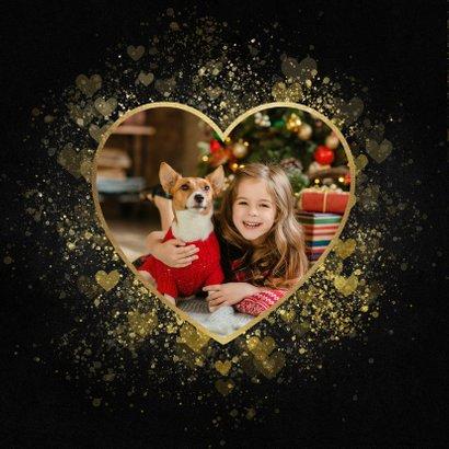 Kerstkaart liefdevol gouden hart Fijne Feestdagen 2