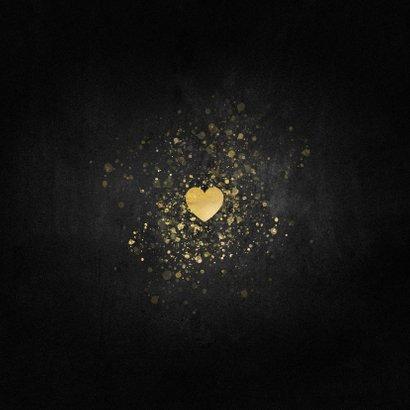 Kerstkaart liefdevol gouden hart Fijne Feestdagen Achterkant