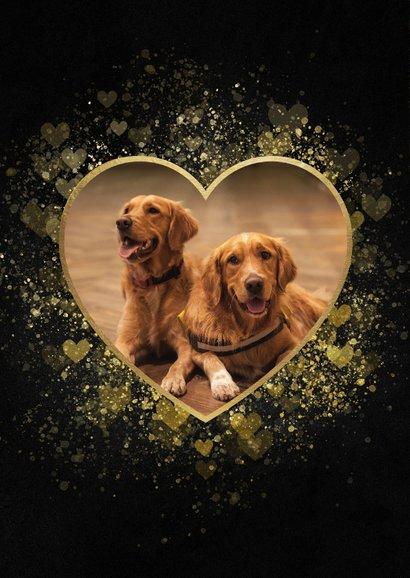 Kerstkaart liefdevolle foto in gouden hartvorm 2