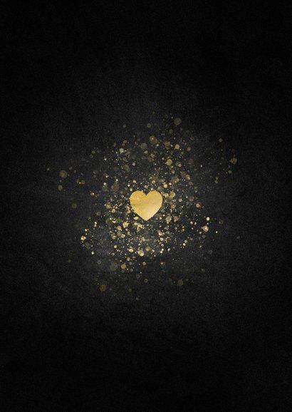 Kerstkaart liefdevolle foto in gouden hartvorm Achterkant