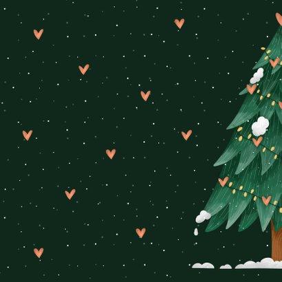 Kerstkaart lovely holidays kerstboom met hartjes Achterkant