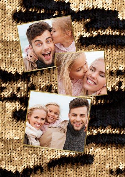 Kerstkaart luxe goud pailletjes foto sierlijk 2