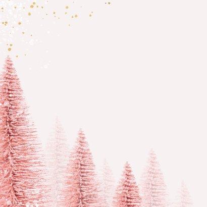 Kerstkaart magical pink merry christmas goud kerstbomen 2
