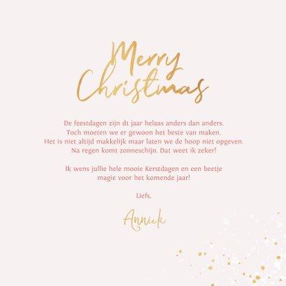 Kerstkaart magical pink merry christmas goud kerstbomen 3