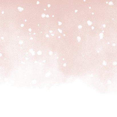 Kerstkaart Merry and Bright met waterverf en sneeuw Achterkant