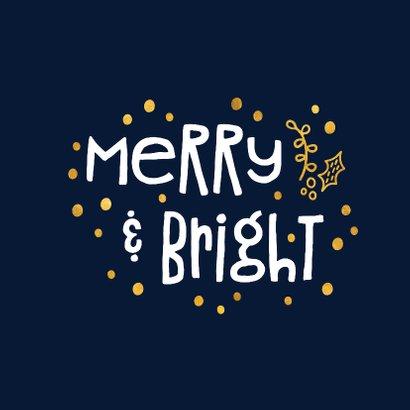 Kerstkaart 'merry & bright' goudlook 2
