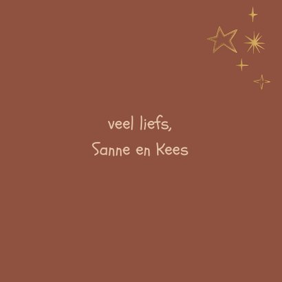 Kerstkaart Merry Christmas and a happy new year gouden ster 3