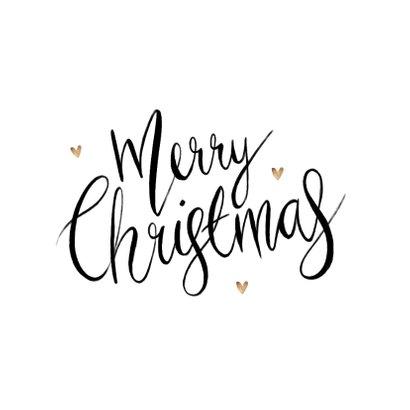 Kerstkaart merry christmas kalligrafie foto hartjes goud 2