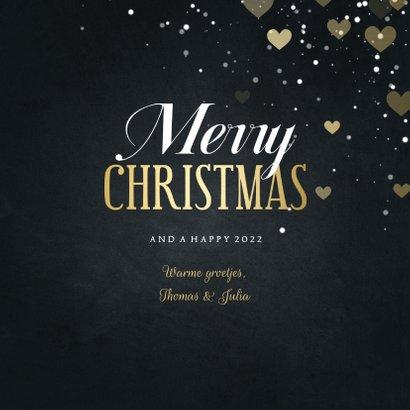 Kerstkaart Merry Christmas met hartjes en spetters 3