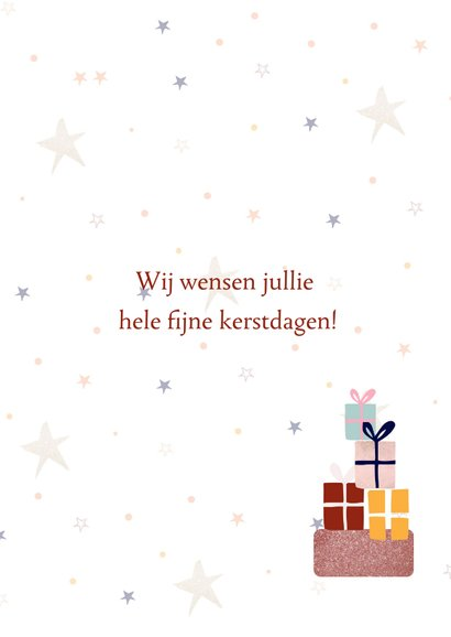 Kerstkaart Merry Christmas met kerstbomen en cadeautjes 3