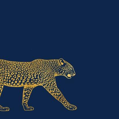 Kerstkaart merry x-mas met gouden luipaard 2