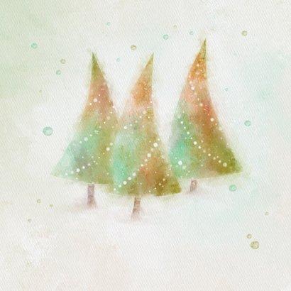 Kerstkaart met 3 aquarel kerstbomen 2