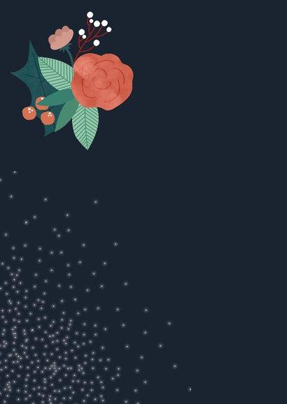 Kerstkaart met bloemen, kersttakjes en sneeuw 2