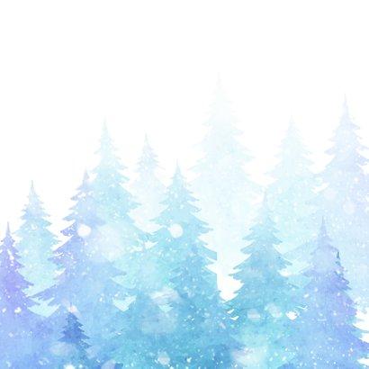 Kerstkaart met bomen en sneeuw 2