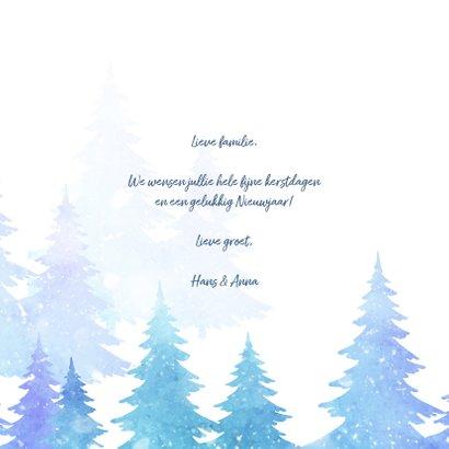 Kerstkaart met bomen en sneeuw 3