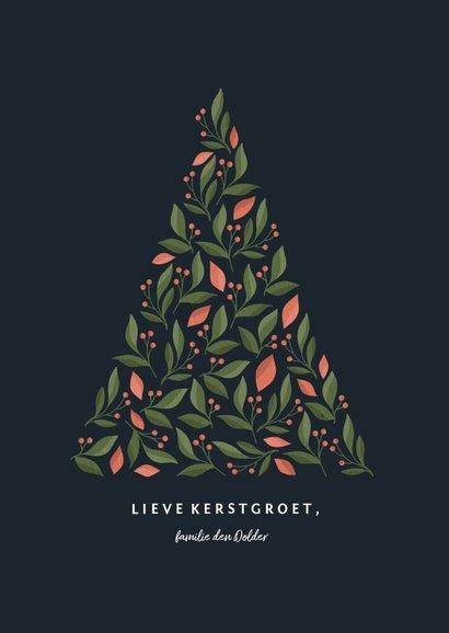 Kerstkaart met botanische kerstboom donker 3