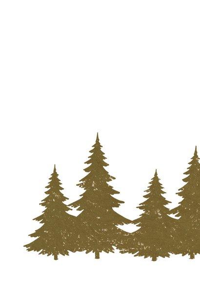 Kerstkaart met dennenbomen en lichtjes 2