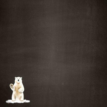 Kerstkaart met een illustratie van een ijsbeer  Achterkant