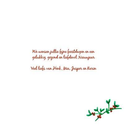 Kerstkaart met eigen foto in mistletoe krans 3