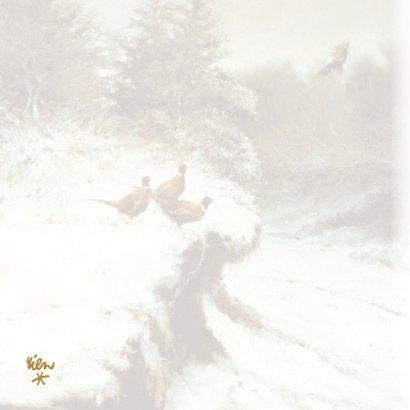 Kerstkaart met fazanten in het winterbos 2