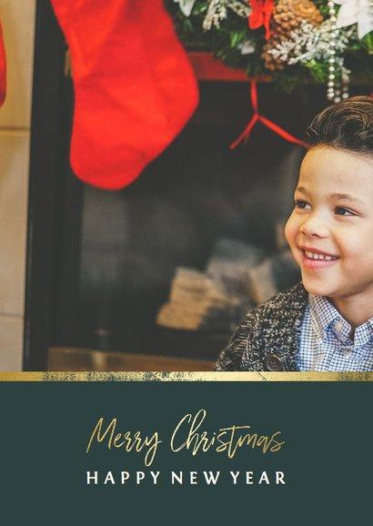 Kerstkaart met foto en gouden accent 2