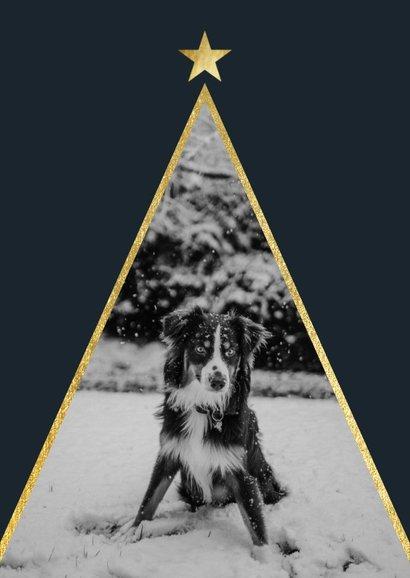 Kerstkaart met foto en gouden ster 2