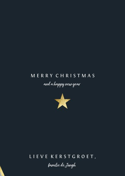 Kerstkaart met foto en gouden ster 3