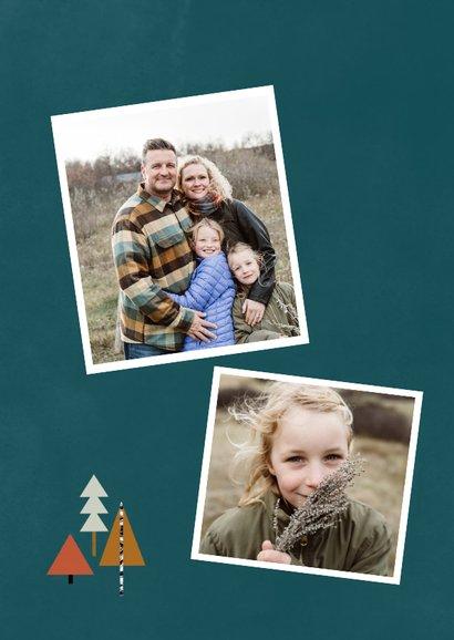 Kerstkaart met foto en kerstbomen illustratie 2