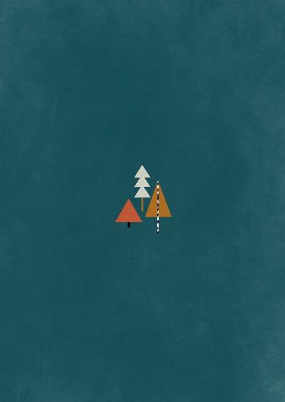 Kerstkaart met foto en kerstbomen illustratie Achterkant