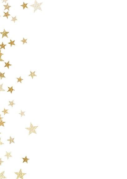 Kerstkaart met foto en sprankelende gouden sterren 2