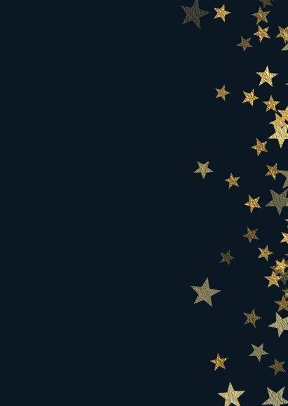 Kerstkaart met foto en sprankelende gouden sterren Achterkant