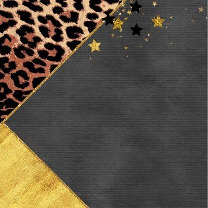 Kerstkaart met foto stoer panterprint en sterren 2