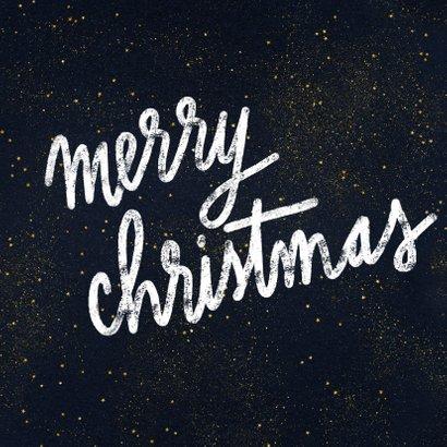 Kerstkaart met foto, typografie en gouden sterren 2