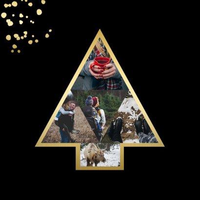 Kerstkaart met fotokerstboom en gouden confetti 2
