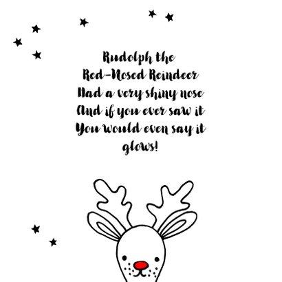 Kerstkaart met getekende Rudolf 2