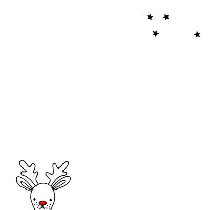 Kerstkaart met getekende Rudolf Achterkant