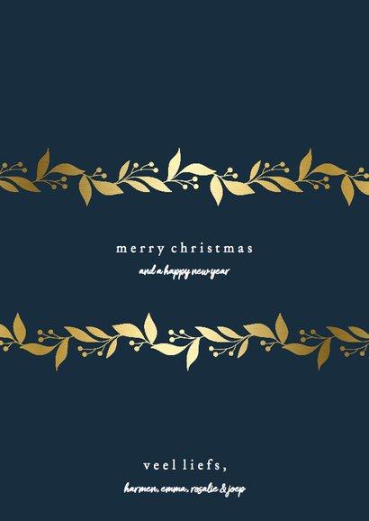 Kerstkaart met gouden bloemenkader en foto's 3