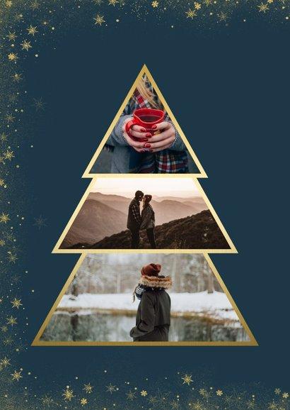 Kerstkaart met goudlook fotokerstboom en gouden kader 2
