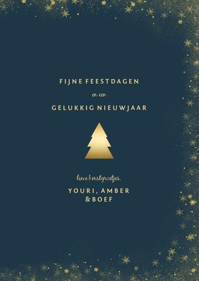 Kerstkaart met goudlook fotokerstboom en gouden kader 3