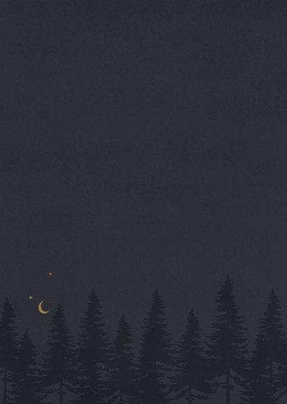 Kerstkaart met grachtenpanden op een winteravond Achterkant