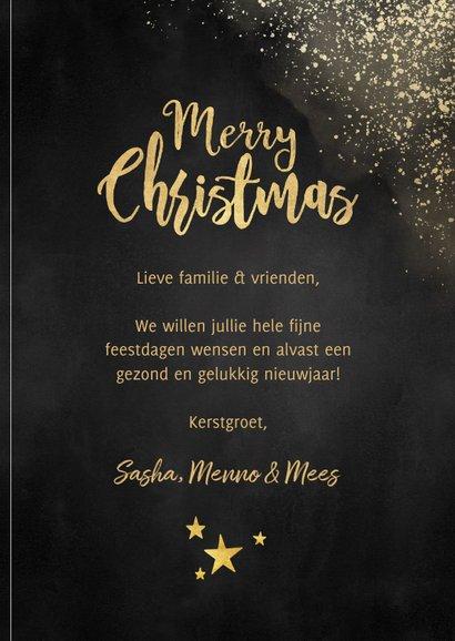 Kerstkaart met grote foto, gouden sneeuw 'Merry Christmas' 3