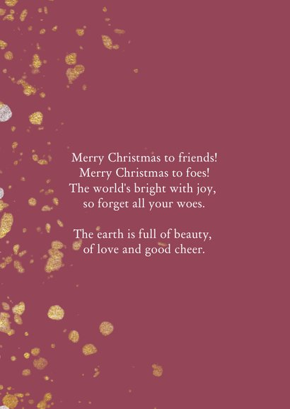 Kerstkaart met handgeschreven tekst en gouden confetti 2