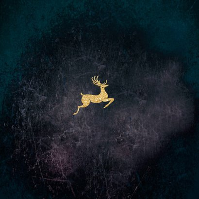 Kerstkaart met hert goudlook 2