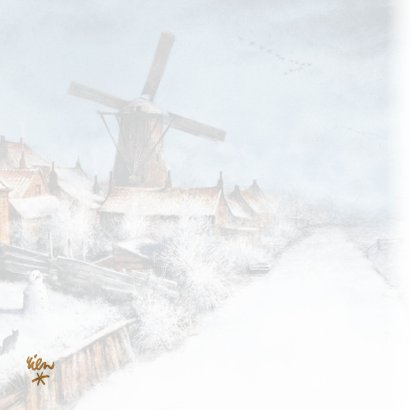 Kerstkaart met Hollands winterlandschap en molen in sneeuw 2