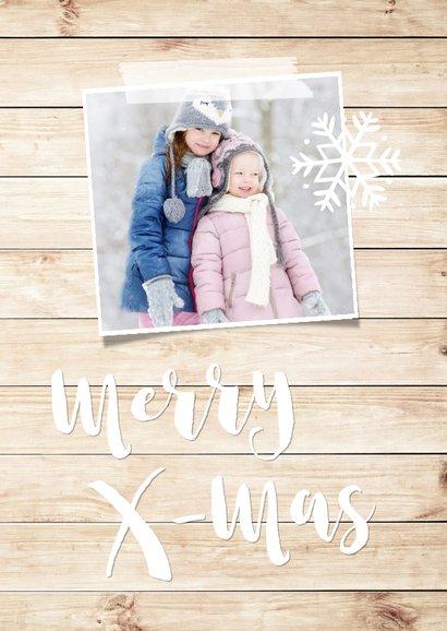 Kerstkaart met hout-look, eigen foto's & sneeuweffect 2